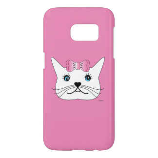 Cute-Girl-Cat-with-Pink-Bow Samsung Galaxy S7 Case