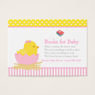 Cute Girl Chick Book Request for Baby Shower Business Card