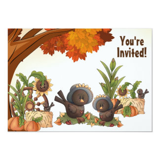 Cute Girl Crow Autumn 1st Birthday Invitation