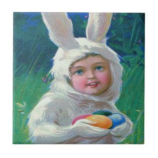 Cute Girl Easter Bunny Costume Field Tile