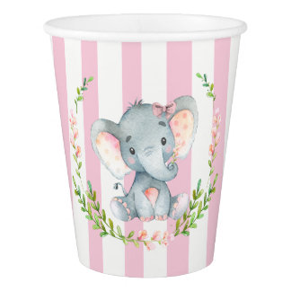 Cute Girl Elephant Baby Shower Paper Cup