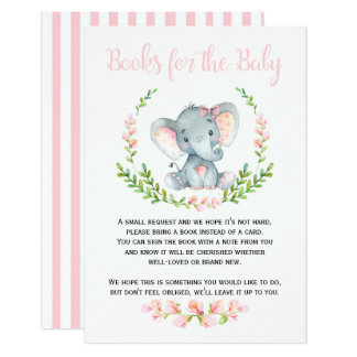 Cute Girl Elephant Books for Baby Request Card