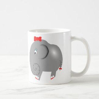 Cute Girl Elephant Pretty Bow Fun Girly Coffee Mug