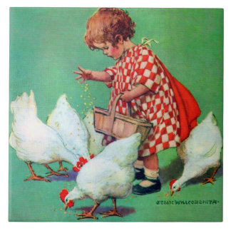 Cute Girl Feeding Hens by Jessie Willcox Smith Tile