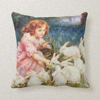 Cute Girl Feeding the Rabbits Throw Pillow