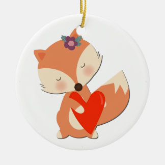 Cute Girl Fox Holding Red Heart Ceramic Ornament