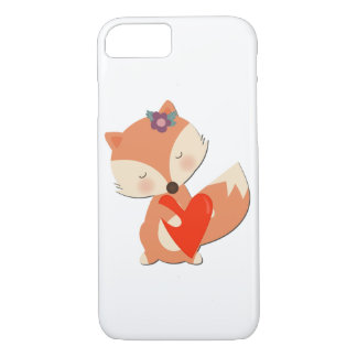Cute Girl Fox Holding Red Heart iPhone 8/7 Case