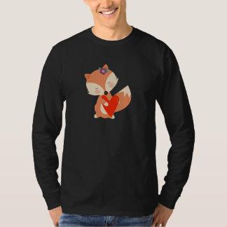 Cute Girl Fox Holding Red Heart T-Shirt