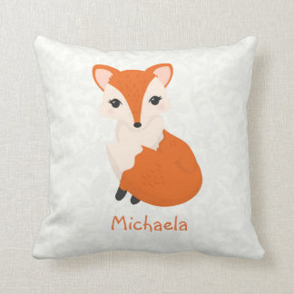Cute Girl Fox Personalized Kids Throw Pillow