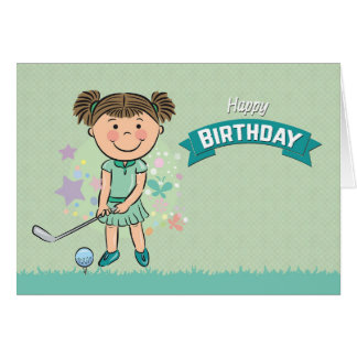 Cute Girl Golfer about to Swing Birthday Card