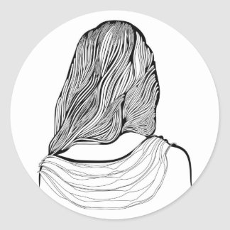Cute Girl Hairstyle Round Sticker