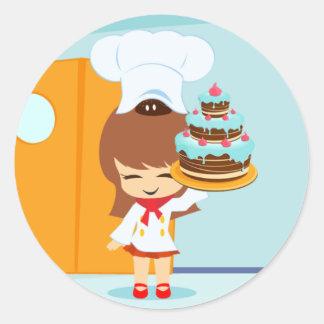 Cute Girl holding Chocolate Birthday Cake Classic Round Sticker