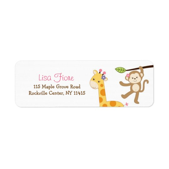 Cute Girl Jungle Animal Custom Address Labels