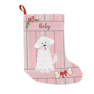 Cute Girl Maltese Pink Wooden Fence Monogram Small Christmas Stocking