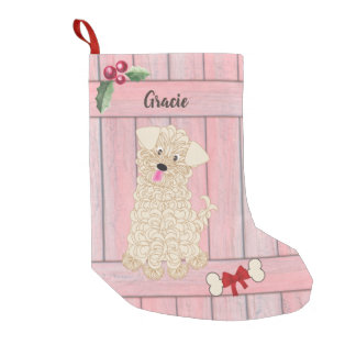 Cute Girl Maltipoo Pink Wooden Fence Monogram Small Christmas Stocking