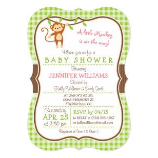 "Cute Girl Monkey; Jungle Theme Baby Shower 5"" X 7"" Invitation Card"