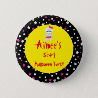 Cute Girl Mummy Halloween Party 2 Inch Round Button