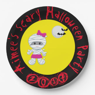 Cute Girl Mummy Halloween Party Paper Plate