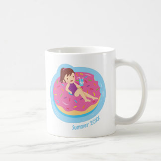 Cute Girl on Doughnut Pool Float Summer Mug