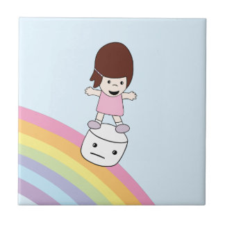 Cute Girl on Rainbow w Marshmallow Ceramic Tile