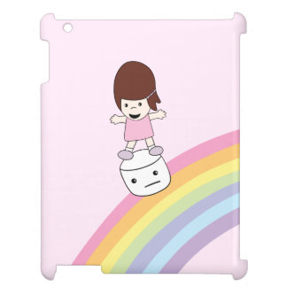 Cute Girl on Rainbow w Marshmallow iPad Case
