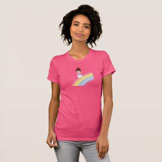 Cute Girl on Rainbow w Marshmallow Jersey T-Shirt
