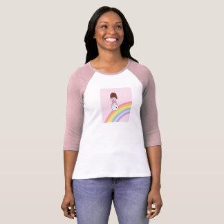 Cute Girl on Rainbow w Marshmallow Raglan T-Shirt