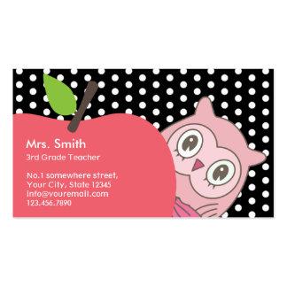 Cute Girl Owl Apple Tutor Teacher Business Card