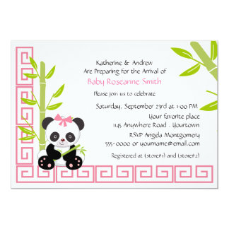 Cute Girl Panda Baby Shower Card