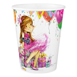 Cute Girl Party Paper Cups