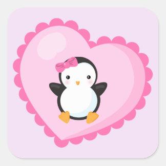 Cute Girl Penguin in Big Light Pink Heart Square Sticker