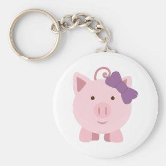 Cute Girl Pig Basic Round Button Keychain