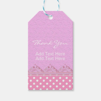 Cute Girl Pink Lace Polka Dot Birthday Baby Shower Pack Of Gift Tags