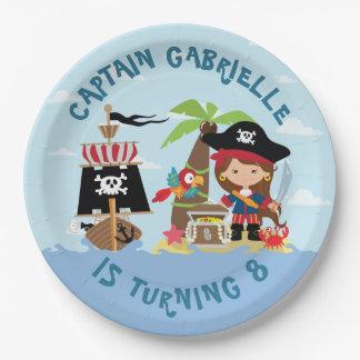 Cute Girl Pirate Paper Plate