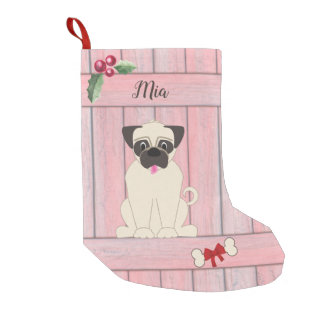 Cute Girl Pug Pink Wooden Fence Monogram Small Christmas Stocking