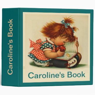 """Cute Girl Reading a Book with Name 2"""" Binder"""