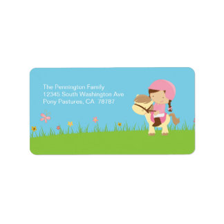 Cute girl riding a horse address label