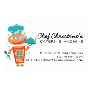 Cute girl robot chef food service catering cooking business card