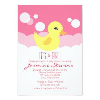 "Cute Girl Rubber Ducky Baby Shower 5"" X 7"" Invitation Card"