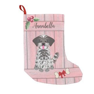 Cute Girl Shih Tzu Pink Wooden Fence Monogram Small Christmas Stocking