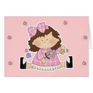 Cute Girl Sitting with Flower and Butterflies Greeting Card