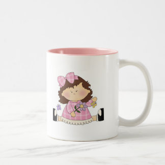 Cute Girl Sitting with Flower and Butterflies Two-Tone Coffee Mug