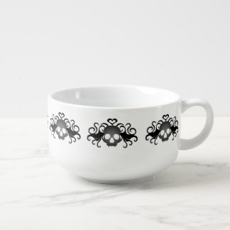 Cute girl skull pattern soup bowl with handle