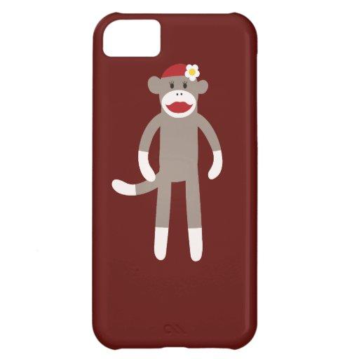 Cute Girl Sock Monkey on Red iPhone 5C Case