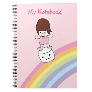 Cute Girl Surfs Rainbow on Marshmallow Notebook