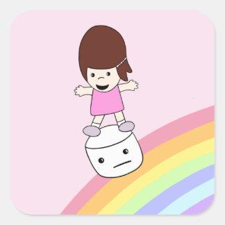 Cute Girl Surfs Rainbow on Marshmallow Sticker
