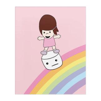 Cute Girl w Rainbow & Marshmallow Acrylic Wall Art