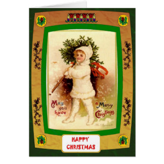 Cute girl with a Christmas tree Greeting Card