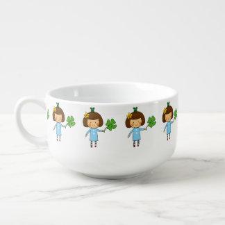 cute girl with a four leaf clover - good luck soup mug