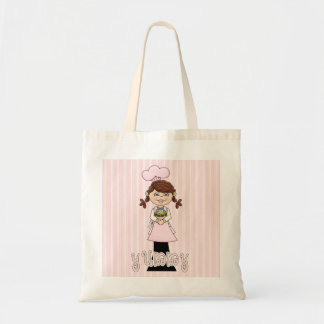 Cute girl with cupcake & yummy on tote